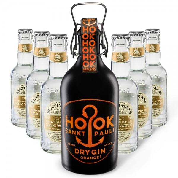HOOK Gin Orange + 6x Fentimans Premium Indian Tonic Water