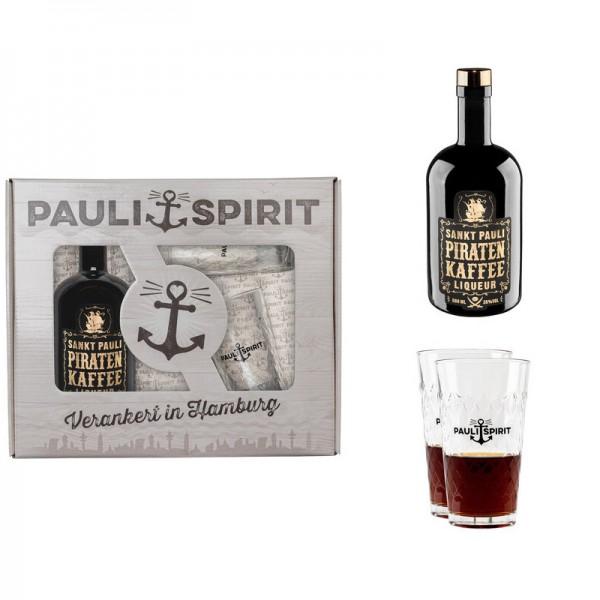 Geschenkset Piratenkaffee mit 2 Longdrink Gläsern [Handel]