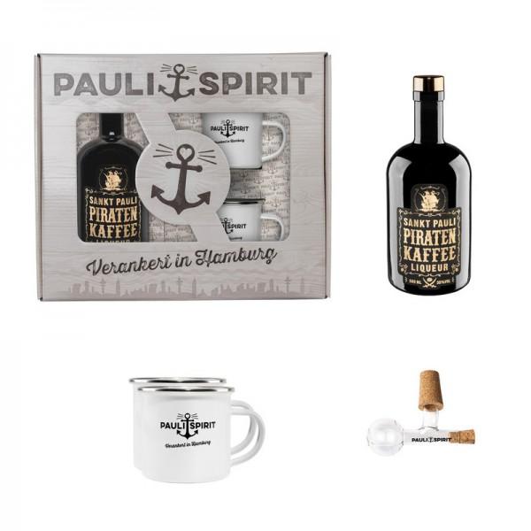 Geschenkset Piratenkaffee mit 2 Bechern und Ausgießer [Handel]