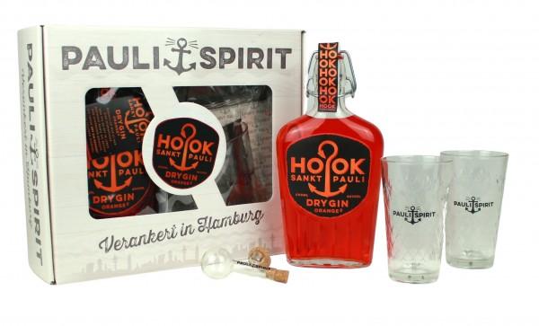 Geschenkset HOOK Gin Orange mit 2 Londrink Gläsern und Ausgießer [Handel]