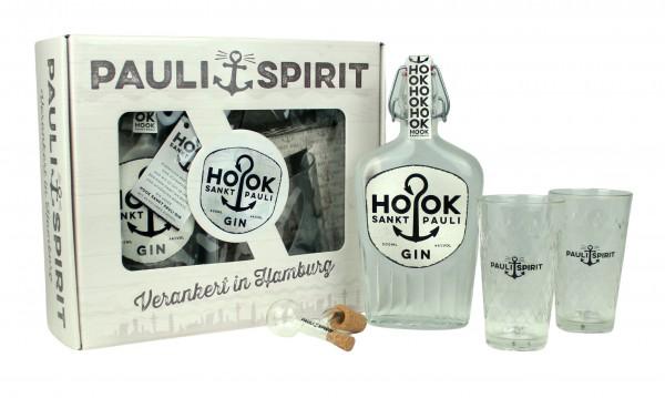 Geschenkset HOOK Gin mit 2 Gläsern & Ausgießer [Handel]