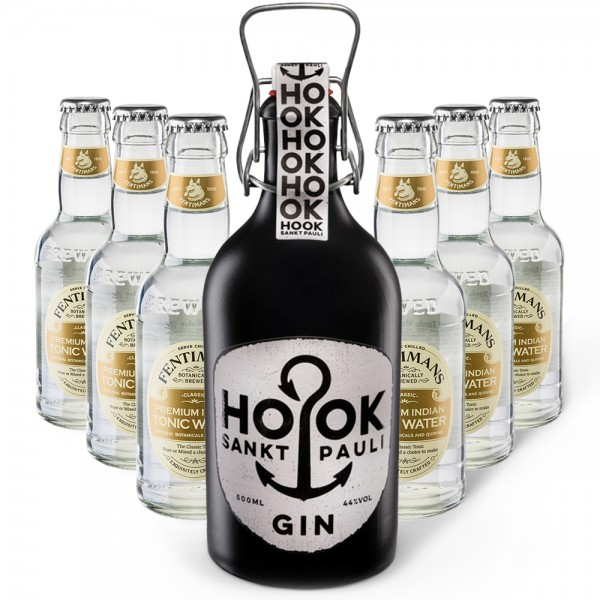 HOOK Gin + 6x Fentimans Premium Indian Tonic Water