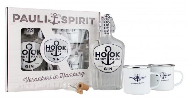 Geschenkset HOOK Gin mit 2 Emaille Bechern & Ausgießer [Handel]