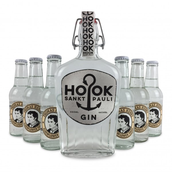 HOOK Gin Buddel + 6x Thomas Henry Elderflower Tonic