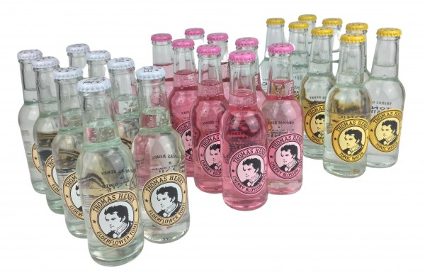 Tonic Mix Kiste by Thomas Henry: 8x Tonic Water + 8x Elderflower Tonic + 8x Cherry Blossom Tonic