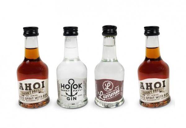 Lütten Probierset: 4 Lütten (2x AHOI Rum, HOOK Gin & LÜMMEL Kümmel)