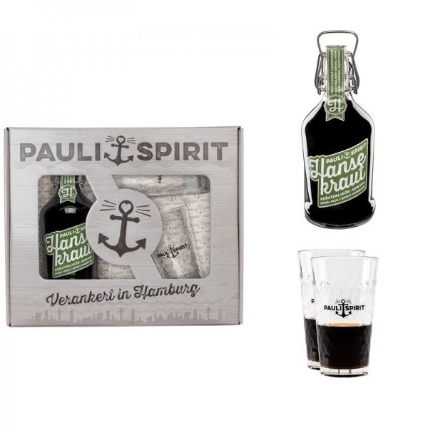 Geschenkset Hansekraut mit 2 Longdrink Gläsern [Handel]
