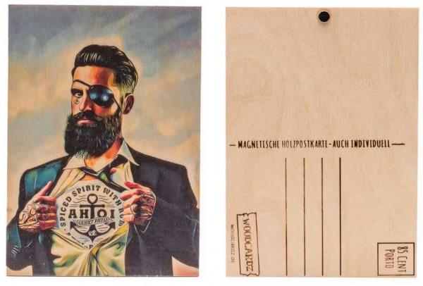 Holzpostkarte AHOI Sankt Pauli – HIPSTER PIRATE