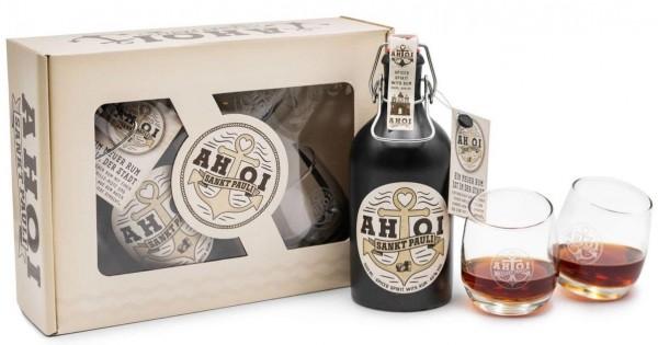 Geschenkset AHOI Rum Buddel + 2 AHOI Tumbler
