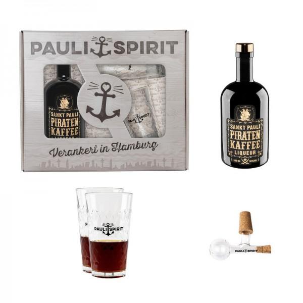 Geschenkset Piratenkaffee mit 2 Longdrink Gläsern und Ausgießer [Handel]