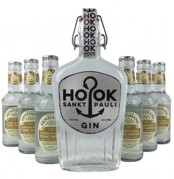 HOOK Gin + 6x Fentimans Premium Indian Tonic Water