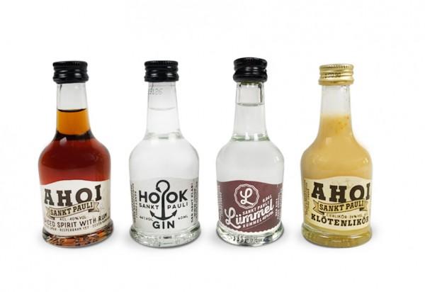 Lütten Probierset: 4 Lütten (AHOI Rum, Klötenlikör, HOOK Gin & LÜMMEL Kümmel)