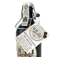 AHOI Rum Buddel + 2 AHOI Ohrstecker aus Mahagoni mit Edelstahl