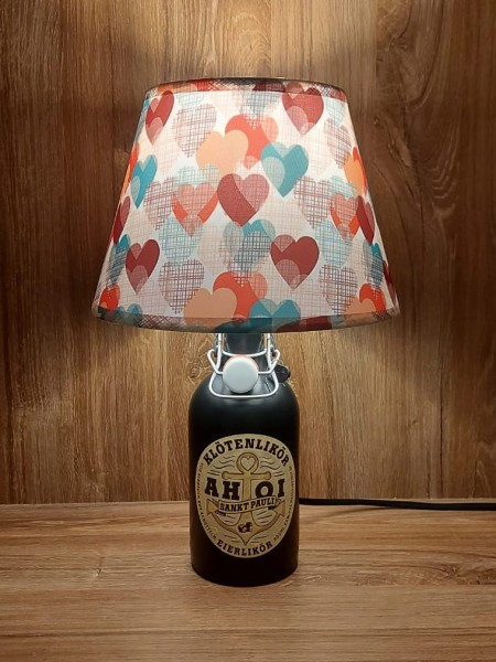Lampe mit Schirm / AHOI Klötenlikör / Upcycling